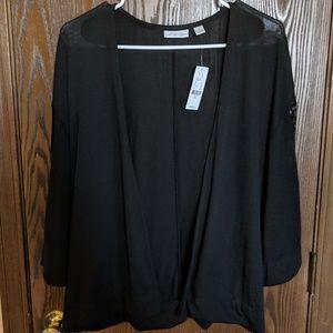 Black Lace Sleeve Cardigan